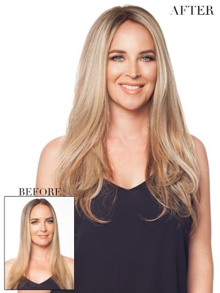 """18"""" Blonde 100% Human Hair Mono Hair Pieces"""