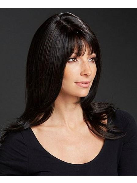 Long Straight Grey Layered Wig With Bangs