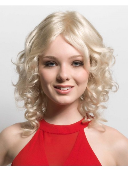Platinum Blonde Lace Front Monofilament Synthetic Curly Wig