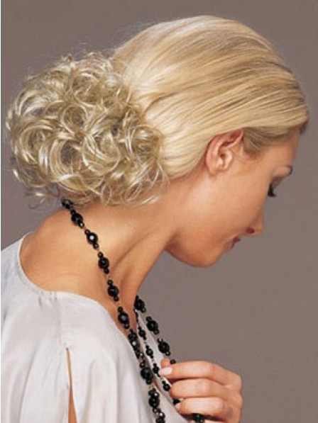 "4"" Curly Blonde Heat Friendly Synthetic Hair Elastic Net Hair Wraps"