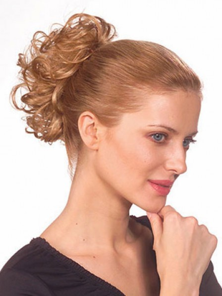 "3.5"" Wavy Blonde Heat Friendly Synthetic Hair Scrunchie Hair Wraps"