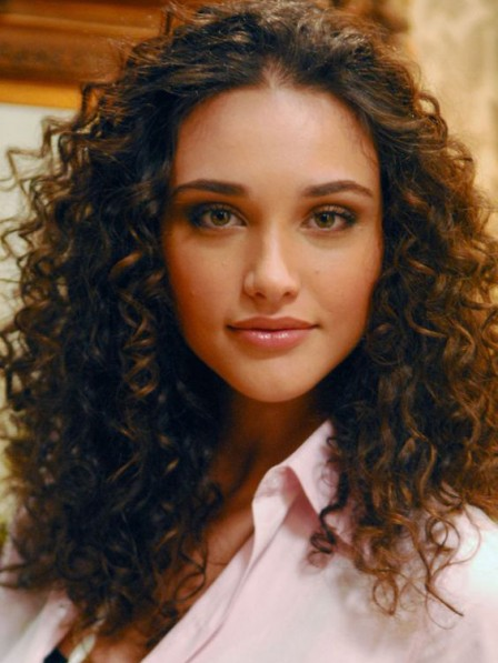Pretty noble brown curly lace front hair wigs without bangs