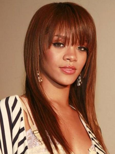 Rihanna Long Auburn Synthetic Capless Hair Wig with Bangs