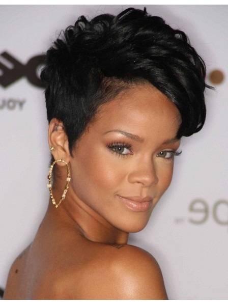 Rihanna Short Black Curly Pixie Wig