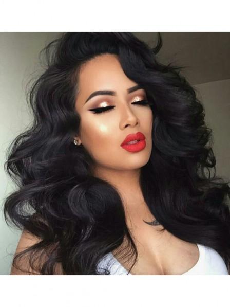 Sexy Women's Deep Wavy Black Glueless Lace Front Human