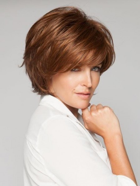 Short layered Synthetic Brown Wig