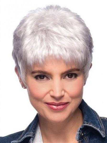 Short Pixie Silver Grey Hair Wigs, Best Wigs Online Sale