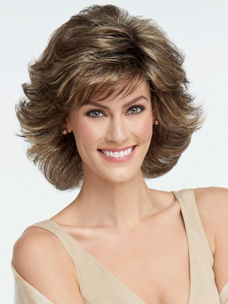 Short Textured Layers Synthetic Wavy Wig