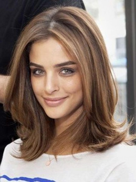 Shoulder Length Light Brown Lace Front Human Hair Wig With Middle Part Rewigs Com