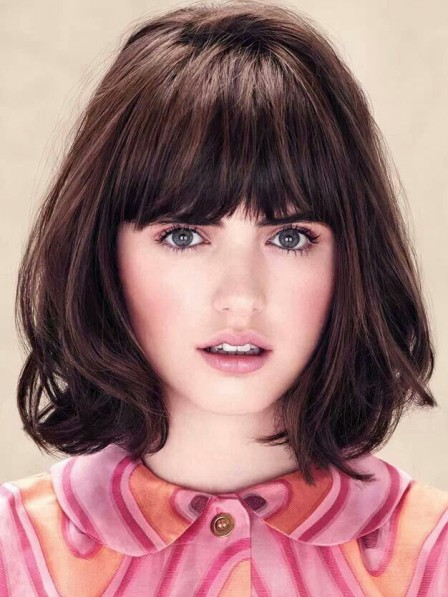 Shoulder Length Young Girl Synthetic Capless Bob Cut Wig