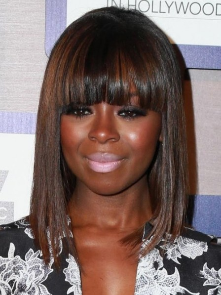 Simple Remy Human Hair African American Wigs With Full Bangs