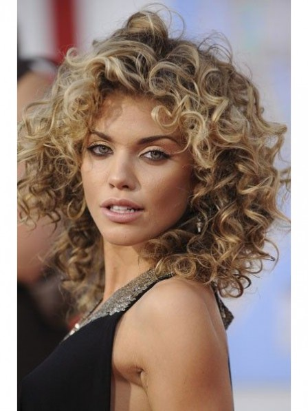 Spanish Blonde curly medium synthetic hair capless wigs for women