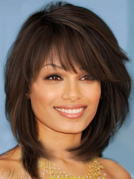 Sweet Layered Bob Hairstyle Mid-lenght Straight Capless Human Hair Wigs