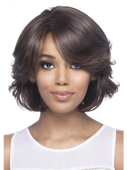Synthetic Full Bob Sytle Wavy Wig With Bangs