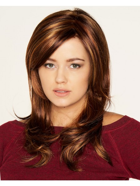 Synthetic Long Layered Brown Hair Wig