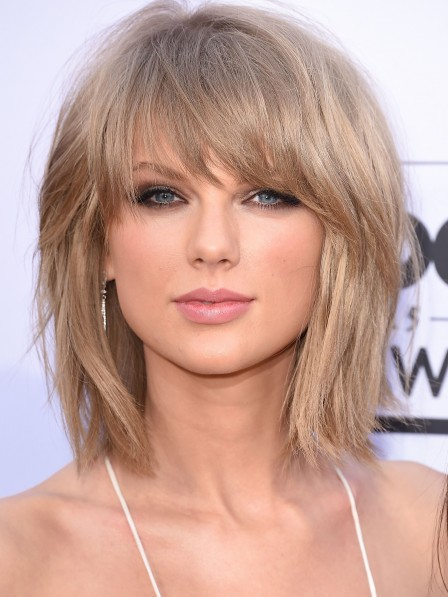 Taylor Swift Shoulder Length Blonde Straight Synthetic Hair Wig
