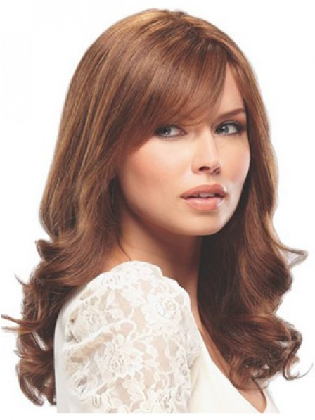Human Hair Long Wavy Red Women Monofilament Wig With Side Bangs