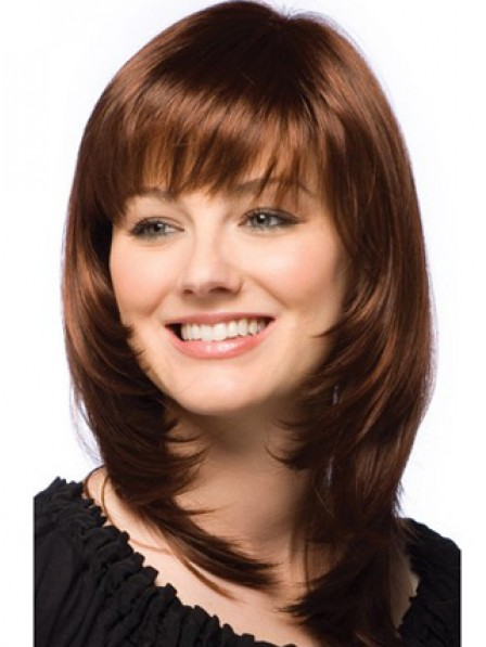 Layered Shoulder Length Straight Human Hair Monofilament Wig With Bangs