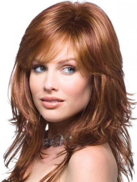 Auburn Long Wavy Human Hair Lace Front Monofilament Wig With Bangs