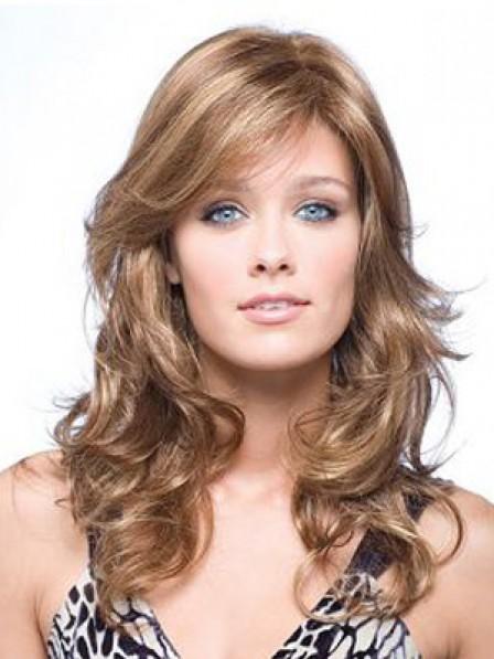 Long Wavy Human Hair Monofilament Wig With Side Bangs
