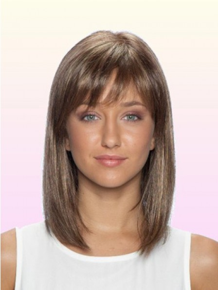Shoulder Length Straight Lace Front Human Hair Wig With Bangs