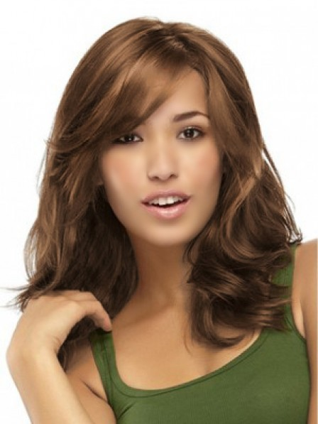 Synthetic Long Wavy Hair Wig With Side Bangs