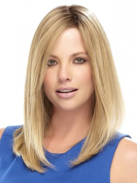 Shoulder Length Straight Human Hair Lace Front Women Wig