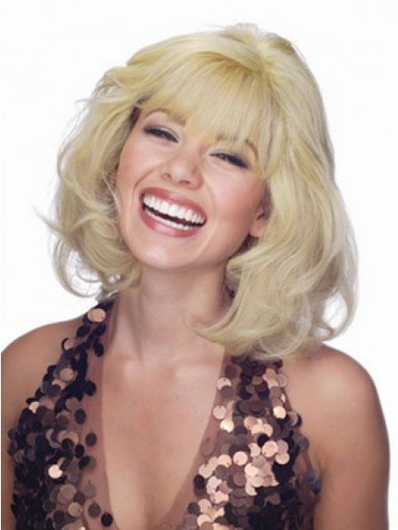 Shoulder Length Human Hair Lace Front Wavy Wig With Full Bangs