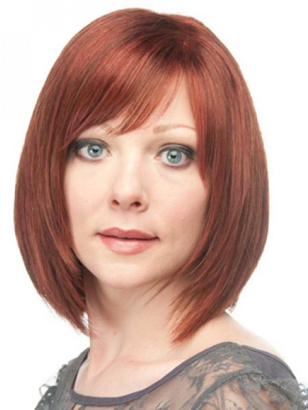100% Hand-tied Full Lace Chin Length Straight Wig With Bangs
