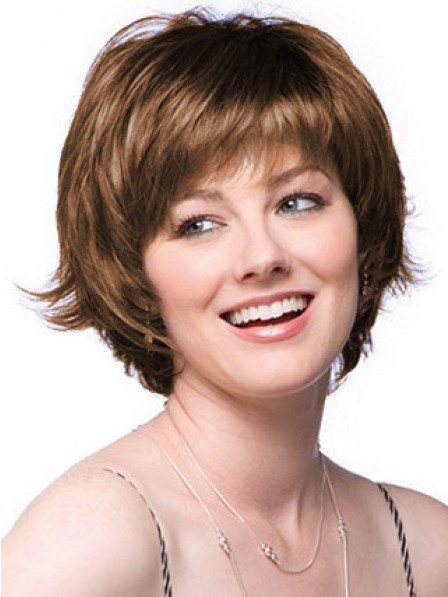 Lace Front Short Straight Layered Human Hair Wig With Bangs