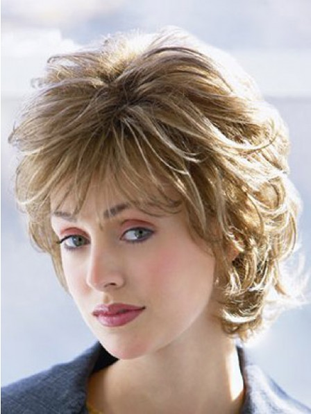 Short Wavy Synthetic Hair Wig With Bangs