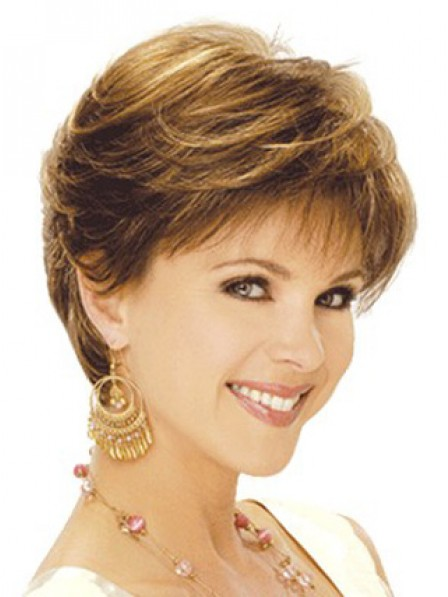 Synthetic Short Wavy Women Wig With Bangs