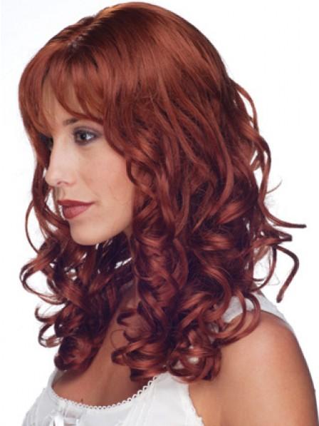 Red Long Human Hair Full Lace Wavy Hair Wig