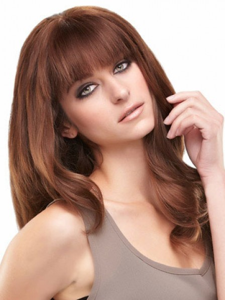 Long Wavy Human Hair With Full Bangs