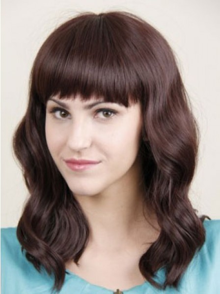 Long Wavy Human Hair Lace Front Women Wig With Full Bangs