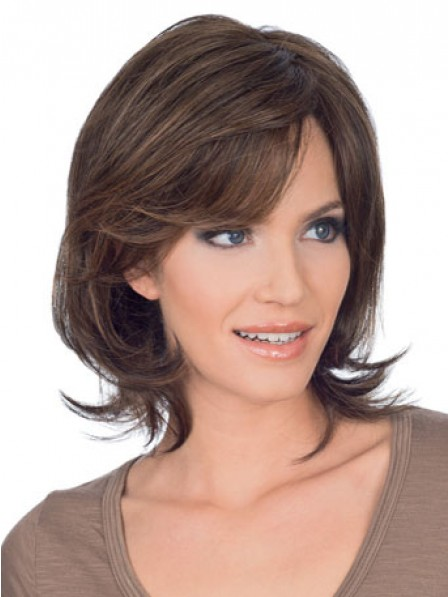Short Wavy Human Hair Lace Front Wig With Side Bangs