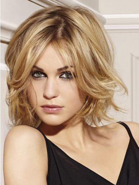 Human Hair Short Wavy Lace Front Women Wig