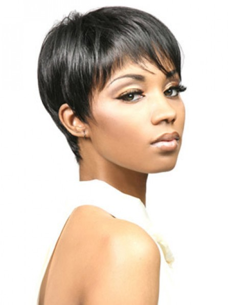 Synthetic Cropped Straight Capless Hair Wig
