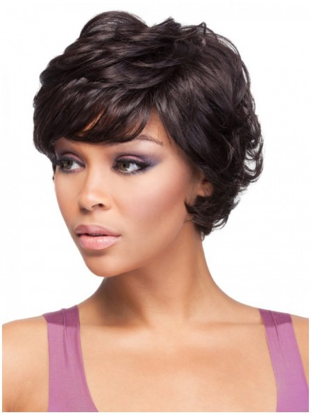 Short Curly Ladies Wig With Bangs