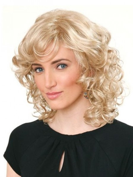 shoulder length blonde curly hair synthetic shoulder length blonde curly hair wigs for women