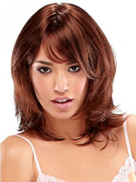 Red Straight Shoulder Length Synthetic Women Hair Wig
