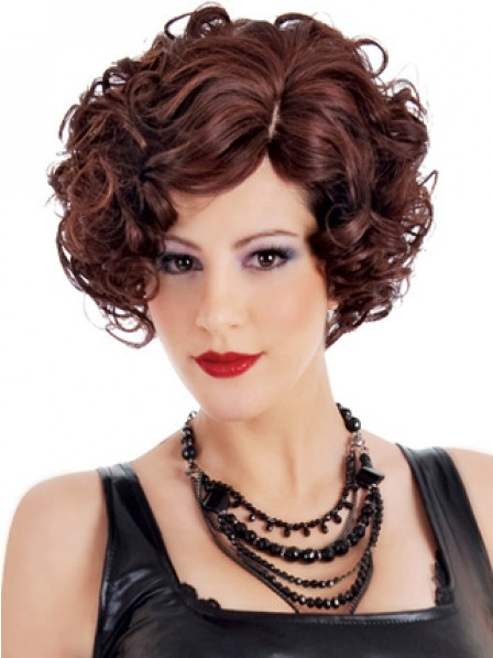 Short Curly Auburn Synthetic Hair Capless