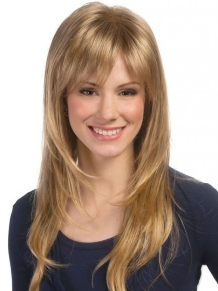 Long Layered Lace Front Mono Top Wig With Bangs