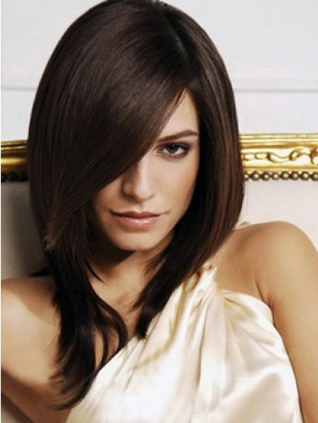 Shoulder Length Straight With Side Bangs Wigs For Women