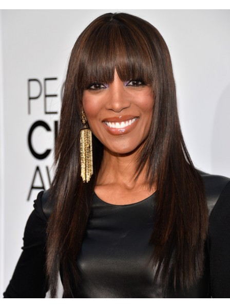 Long Straight Cut Wig With Full Bangs