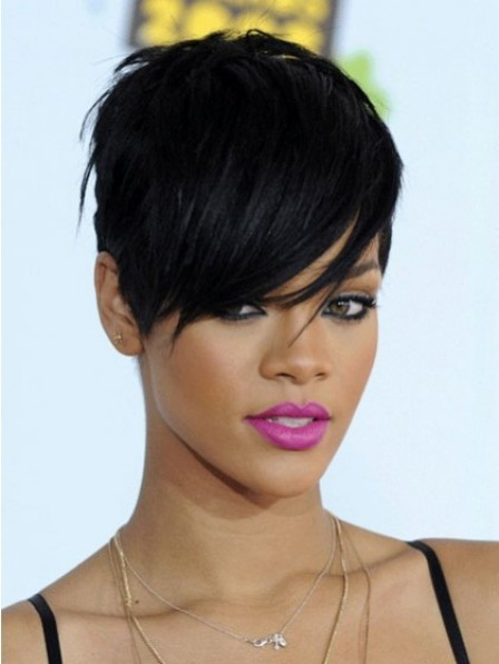 Short Boycuts Straight Synthetic Wig With Side Bangs For Women