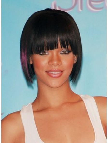 Short Straight With Full Bangs Synthetic Hair Wig