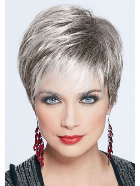 Grey Straight Cropped Hair Wig With Bangs