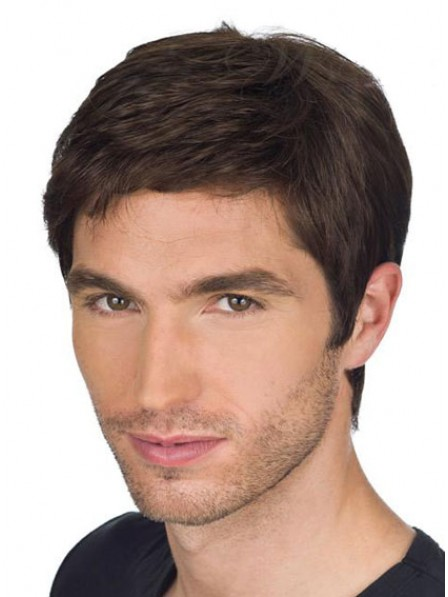 Mens Lace Front Mono Top Straight Human Hair Wig