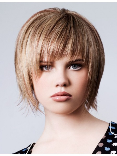 Short Capless Human Hair Wig With Bangs